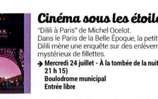 "Open air cinema with the movie ""Dilili à Paris"""